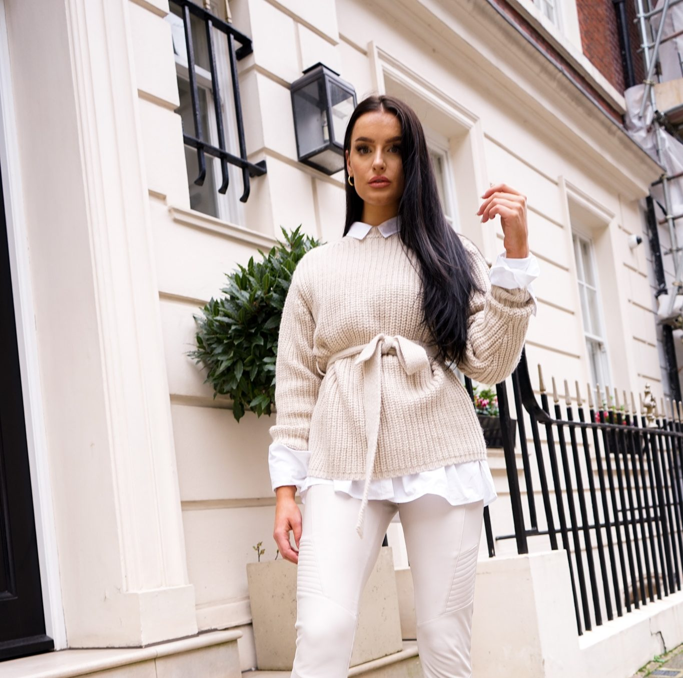 influencer posing in gifted clothes